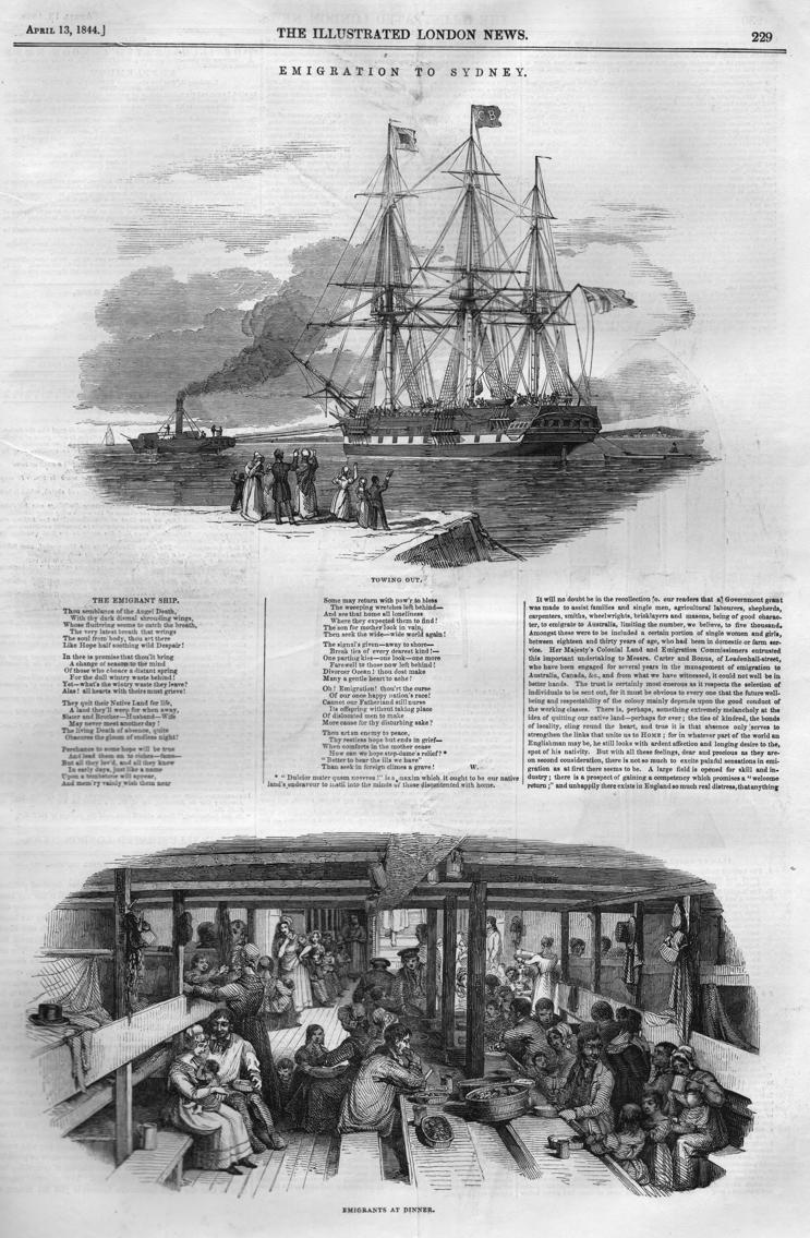 1844 emigration to Sydney